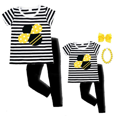 Cute As Can Bee Shirt Black Stripe Mommy Me