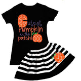 Cutest Pumpkin Patch Outfit Moroccan Stripe Top And Skirt