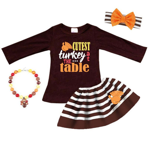 Cutest Turkey At Table Outfit Brown Stripe Top And Skirt