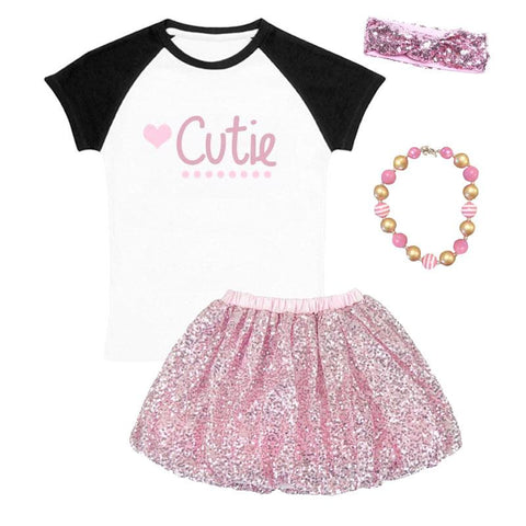 Cutie Heart Outfit Black Raglan Pink Sequin Top And Skirt