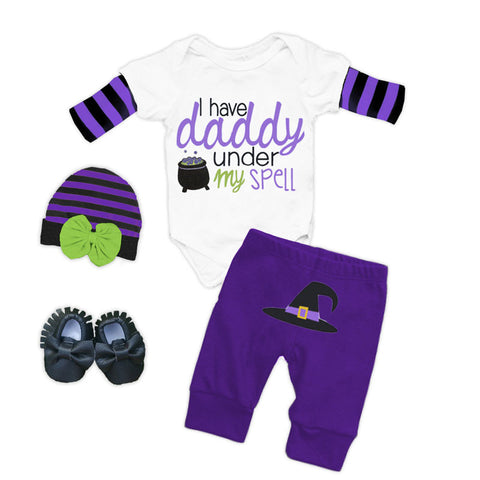 Daddy Under Spell Purple Onesie Pant Set