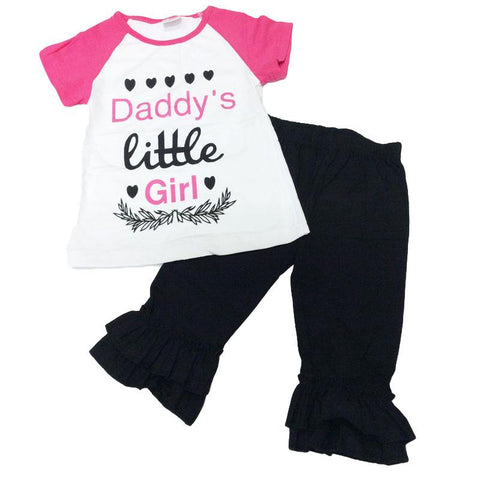 Daddys Little Girl Outfit Pink Black Hearts