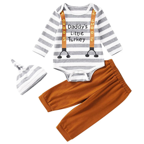Daddy's Little Turkey Outfit Gray Stripe Brown Onesie Pants And Hat Boy