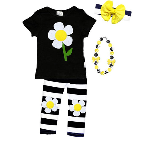 Daisy Outfit Sparkle Black Stripe Top And Capri