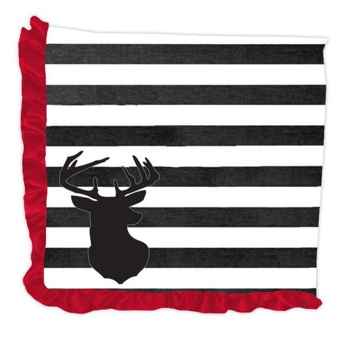 Deer Black Stripe Red Minky Blanket