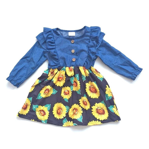 Denim Blue Button Ruffle Sunflower Spring Floral Dress