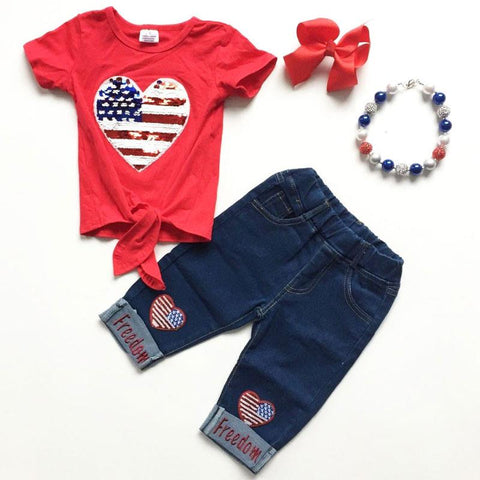 Denim Freedom Outfit Sequin Heart Flag Top And Capri