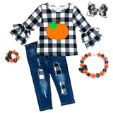 Denim Pumpkin Plaid Outfit Ruffle Top And Pants