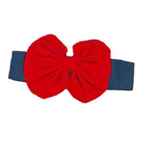 Denim Red Messy Bow Headband