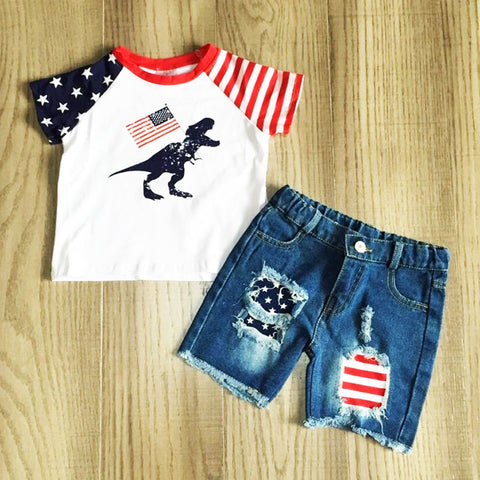Dino Flag Stars And Stripes Raglan Shirt And Denim Shorts Set