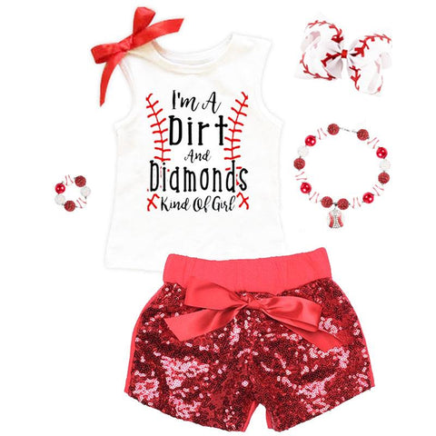 Dirt And Diamonds Girl Baseball Sequin Outfit Tank Top And Shorts