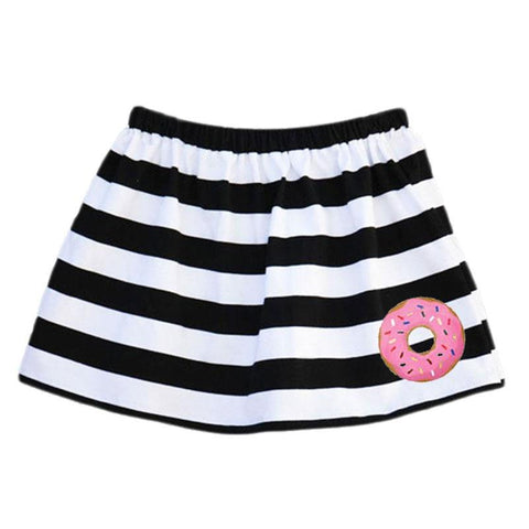 Donut Skirt Pink Black White Stripe