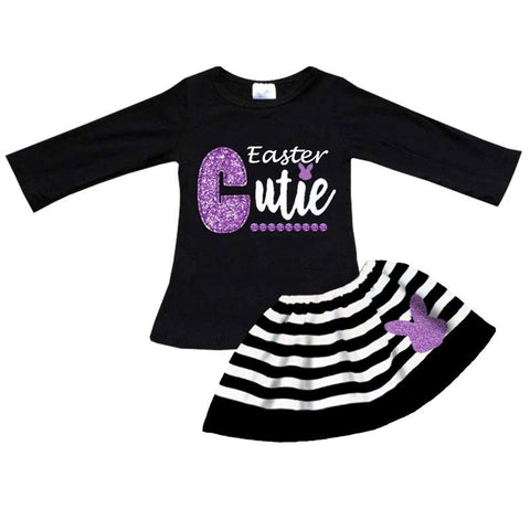 Easter Cutie Outfit Purple Sparkle Black Stripe Top And Skirt