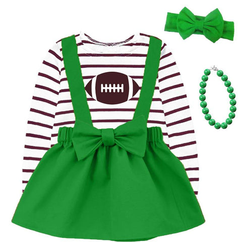 Emerald Green Football Jumper And Brown Stripe Top