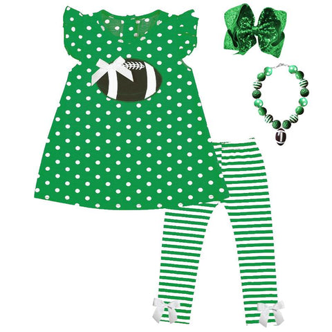 Emerald Green Football Outfit Polka Dot Stripe Top And Pants