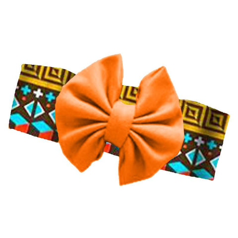 Fall Aztec Headband Orange Messy Bow