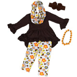 Fall Flowers Outfit Brown Yellow Scarf Top And Pants