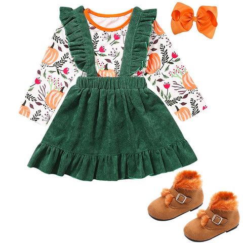Fall Pumpkin Outfit Green Top And Jumper