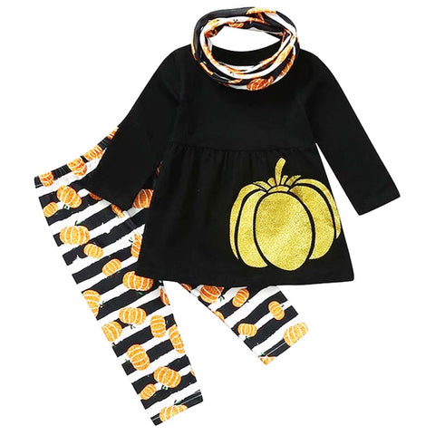 Fall Pumpkin Stripe Outfit Black Top Pants And Scarf