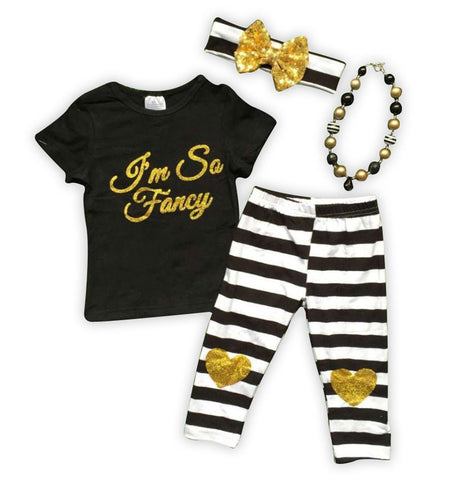 Fancy Stripe Gold Heart Capri Set