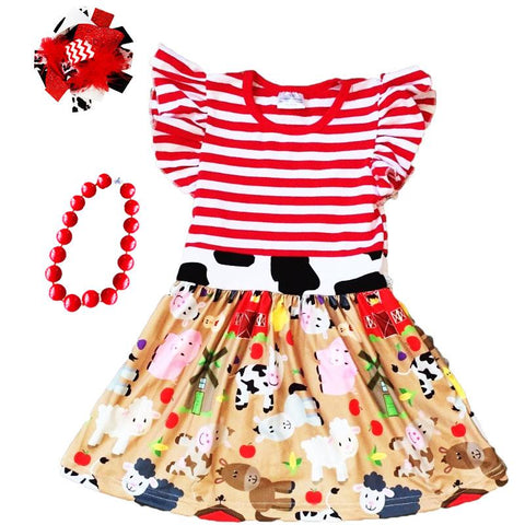 Farm Animals Dress Cow Red Stripe
