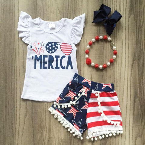 Fireworks Merica Flag Outfit Star Pom Top And Shorts