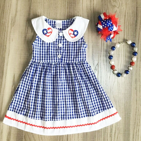 Flag Navy Gingham Plaid Red Button Sun Dress Necklace And Hair Bow Set