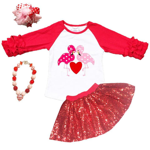 Flamingo Heart Shirt Polka Dot Red Raglan