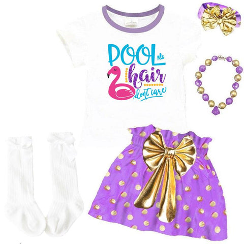 Flamingo Pool Hair Dont Care Outfit Lavender Gold Top And Skirt