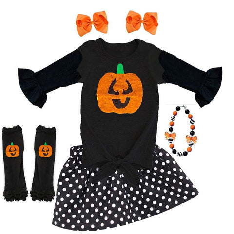 Flip Sequin Jackolantern Outfit Polka Dot Top And Skirt