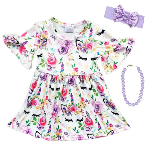 Floral Unicorn Dress Lavender White Ruffle
