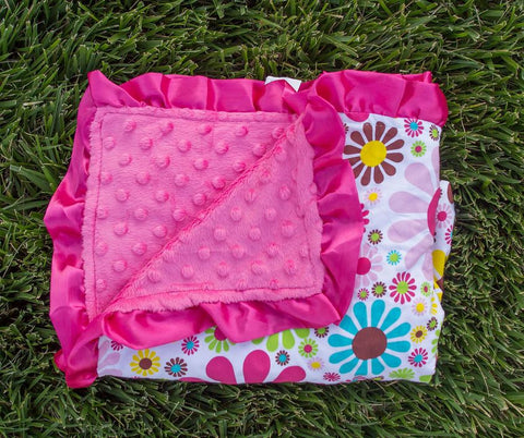 Flower - Hot Pink Minky Blanket