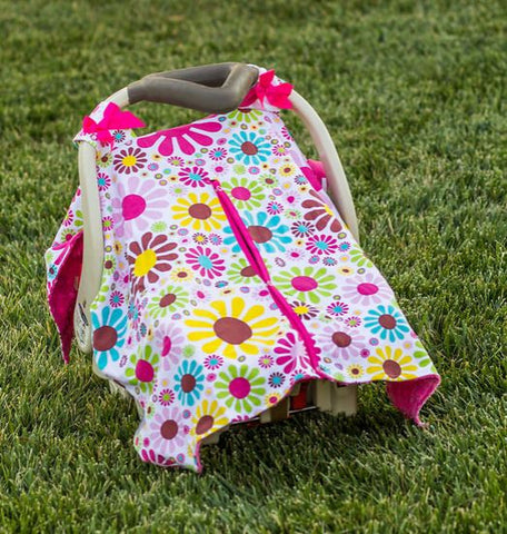 Flower Hot Pink Minky Car Seat Canopy