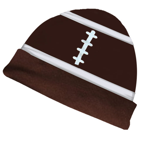 Football Beenie Hat Baby Brown Stripe