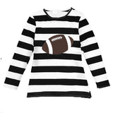 Football Black Stripe Shirt Brown Long Sleeve Mommy Me