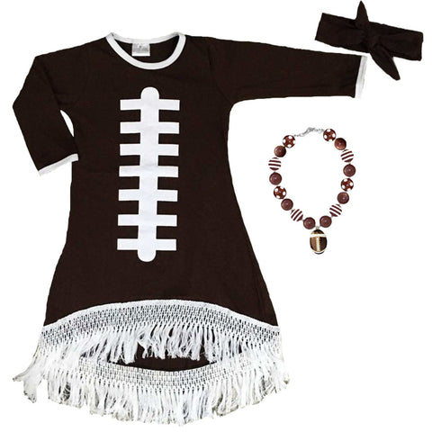 Football Fringe Dress Laces Brown