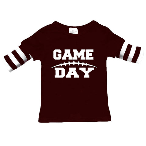 Football Game Day Brown Stripe Shirt