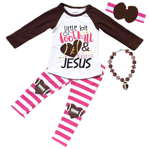 Football Jesus Outfit Pink Stripe Fall Girls Top And Pants