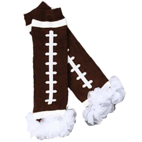 Football Leg Warmers Brown White Ruffle