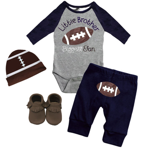 Football Little Brother Biggest Fan Onesie And Pants Gray Navy