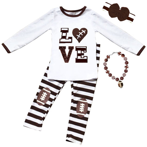 Football Love Outfit Brown Stripe Heart Top And Pants