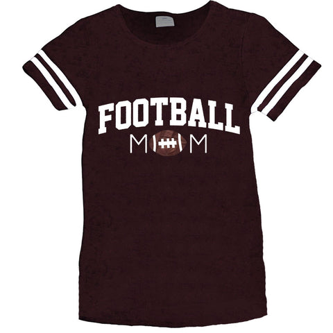 Football Mom Shirt Womens Brown Stripe