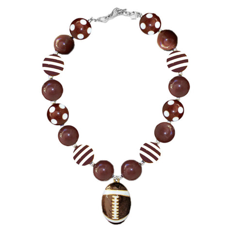 Football Necklace Brown Stripe Polka Dot