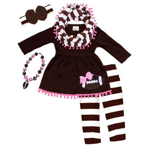 Football Outfit Girls Brown Stripe Pom Scarf Top And Pants