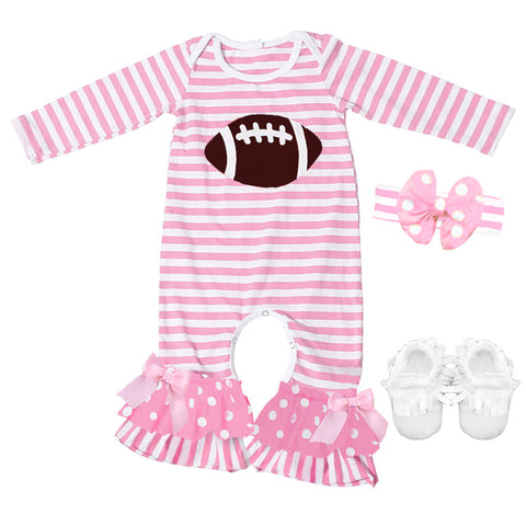Football Romper Pink Stripe Polka Dot Girls Ruffle Brown