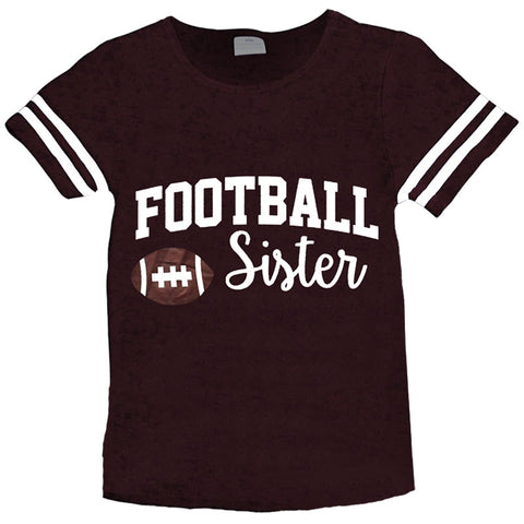 Football Sister Shirt Girls Brown Stripe