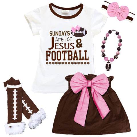 Football Sundays Jesus Skirt Brown Pink Bow Top
