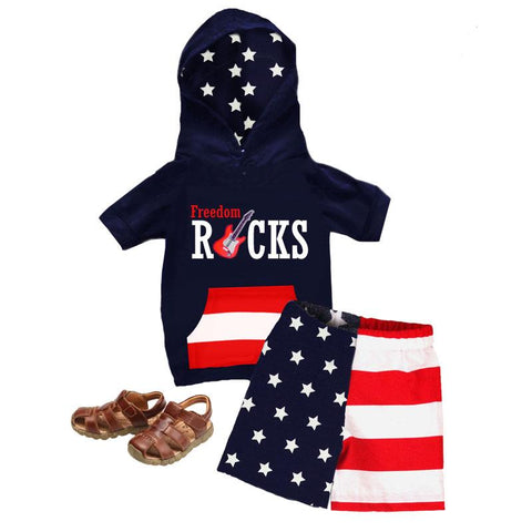 Freedom Rocks Outfit Boy Hoodie And Shorts