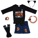 Freeking Meowt Outfit Denim Top And Skirt