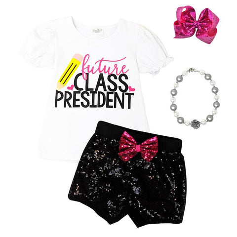 Future Class President Outfit Black Sequin Top And Shorts